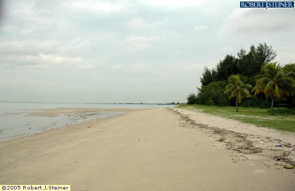 Changi Beach,  Walk along the calm sea